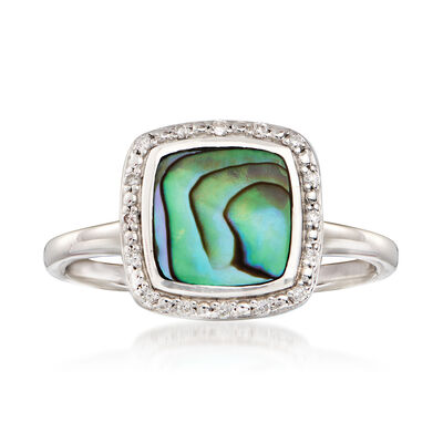 Abalone Shell Frame Ring with Diamond Accents in Sterling Silver, , default