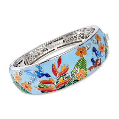 "Belle Etoile ""Hummingbird"" Multicolored Enamel and .15 ct. t.w. CZ Bangle Bracelet in Sterling Silver, , default"