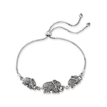 Sterling Silver Bali-Style Elephant Trio Bolo Bracelet, , default