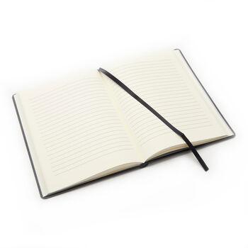 Royce Navy Leather Three-Initial Slim Journal