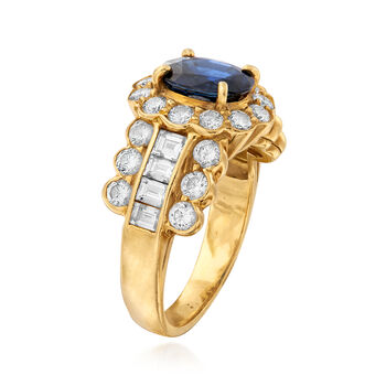 C. 1990 Vintage 1.05 Carat Sapphire and 1.40 ct. t.w. Diamond Ring in 18kt Yellow Gold. Size 5