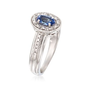 .60 Carat Tanzanite and .10 ct. t.w. White Topaz Ring in Sterling Silver