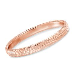 Italian Andiamo 14kt Rose Gold Beaded Bangle Bracelet, , default