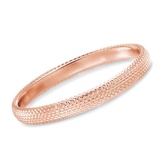 """Italian Andiamo 14kt Rose Gold Beaded Bangle Bracelet. 7.5"""", , default"""