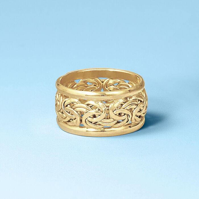 18kt Yellow Gold Wide Byzantine Ring