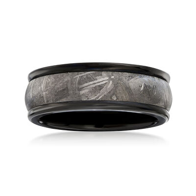 Men's 8mm Black Tungsten Carbide and Meteorite Center Wedding Ring