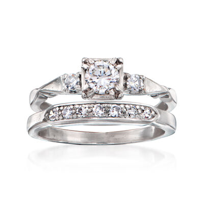 C. 1950 Vintage .63 ct. t.w. Diamond Bridal Set: Engagement and Wedding Ring in Platinum, , default
