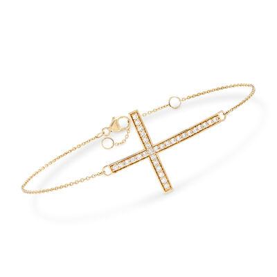 .50 ct. t.w. Diamond Sideways Cross Bracelet in 14kt Yellow Gold, , default