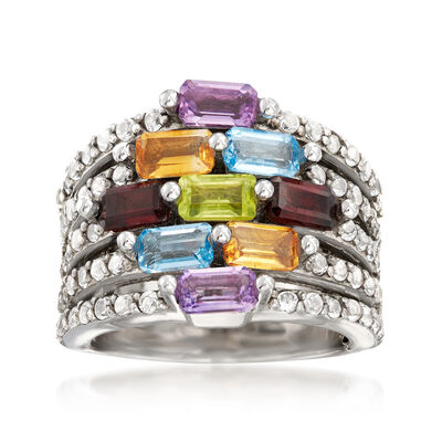3.70 ct. t.w. Multi-Gemstone Multi-Row Station Ring in Sterling Silver, , default