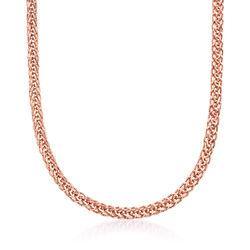 18kt Rose Gold Wheat-Link Necklace, , default
