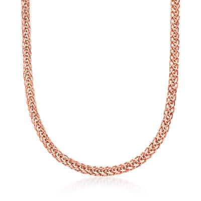 18kt Rose Gold Wheat-Link Necklace, , default