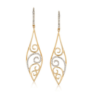 .26 ct. t.w. Diamond Scroll Drop Earrings in 14kt Yellow Gold , , default