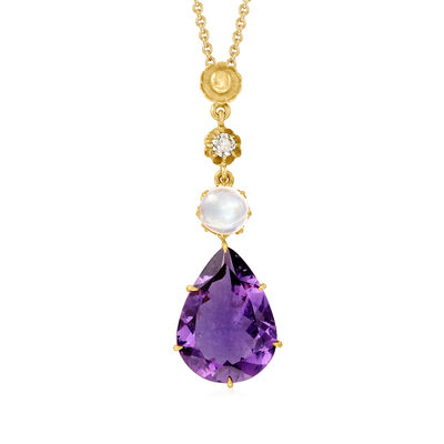 C. 1980 Vintage 5.25 Carat Amethyst, .90 Carat Moonstone and .10 Carat Diamond Drop Pendant Necklace in 10kt and 14kt Yellow Gold