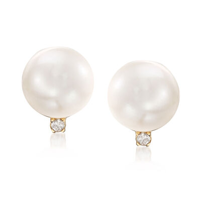 7-7.5mm Cultured Pearl Earrings with Diamonds in 14kt Yellow Gold, , default