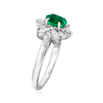 C. 1980 Vintage .79 Carat Emerald and .58 ct. t.w. Diamond Ring in Platinum. Size 5.5, , default