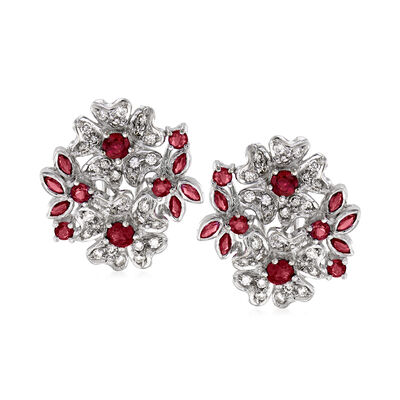 C. 1990 Vintage 1.50 ct. t.w. Ruby and .60 ct. t.w. Diamond Flower Earrings in 18kt White Gold, , default