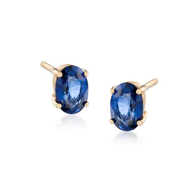 1.10 ct. t.w. Sapphire Stud Earrings in 14kt Yellow Gold, , default