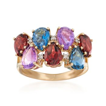 6.10 ct. t.w. Multi-Stone Ring With Diamond Accents in 14kt Yellow Gold, , default