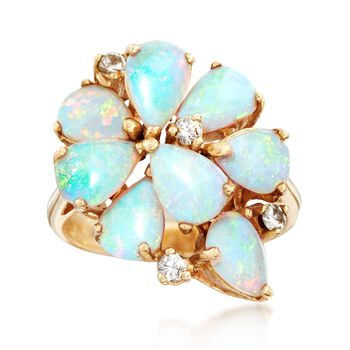 C. 1980 Vintage Opal and .20 ct. t.w. Diamond Cluster Ring in 14kt Yellow Gold. Size 5.75, , default