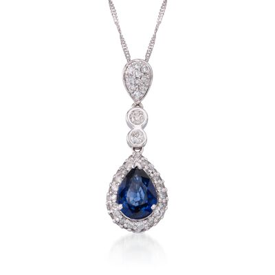 1.05 Carat Sapphire and .45 ct. t.w. Diamond Pendant Necklace in 14kt White Gold, , default