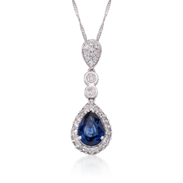 """1.05 Carat Sapphire and .45 ct. t.w. Diamond Pendant Necklace in 14kt White Gold. 18"""", , default"""