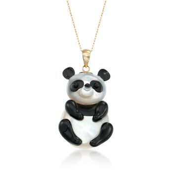 """Black Agate and Mother-Of-Pearl Panda Pendant Necklace in 14kt Yellow Gold. 18"""", , default"""