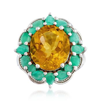 7.00 Carat Citrine and 1.80 ct. t.w. Emerald Ring in Sterling Silver, , default
