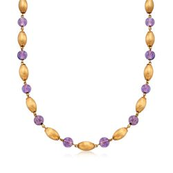 """C. 1968 Vintage 29.00 ct. t.w. Amethyst and 14kt Yellow Gold Bead Necklace With British Hallmark. 20"""", , default"""