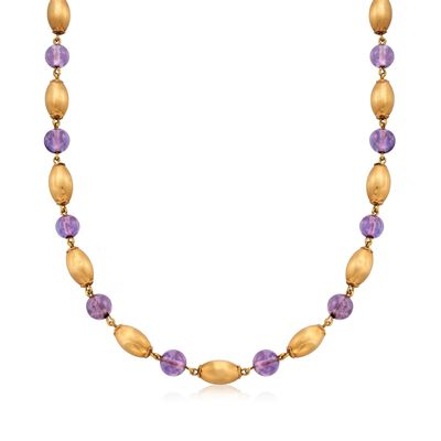 C. 1968 Vintage 29.00 ct. t.w. Amethyst and 14kt Yellow Gold Bead Necklace with British Hallmark, , default