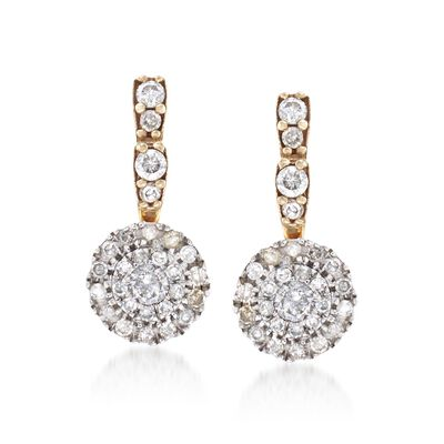 .63 ct. t.w. Pave Diamond Circle Drop Earrings in 14kt Two-Tone Gold, , default
