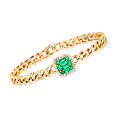 .80 ct. t.w. Emerald and .28 ct. t.w. Diamond Cuban-Link Bracelet in 14kt Yellow Gold, , default