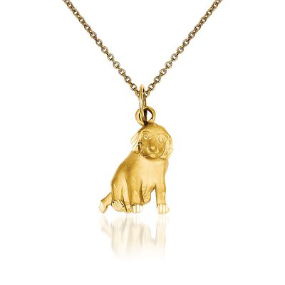 14kt Yellow Gold Dog Pendant Necklace, , default