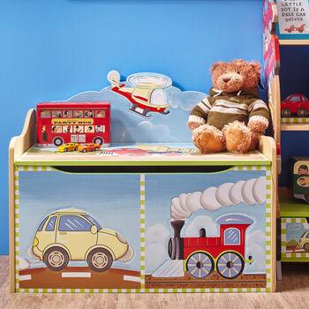 Child's Transportation Wooden Toy Chest, , default
