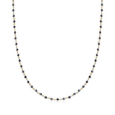 16.00 ct. t.w. Black Spinel Bead Station Necklace in 18kt Gold Over Sterling, , default