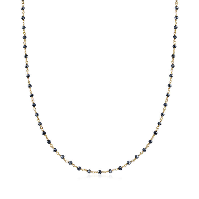 16.00 ct. t.w. Black Spinel Bead Station Necklace in 18kt Gold Over Sterling