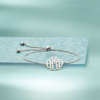 Sterling Sterling Small Monogram Box Chain Bolo Bracelet , , default