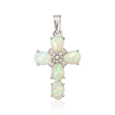 Opal and .20 ct. t.w. White Zircon Cross Pendant in Sterling Silver, , default