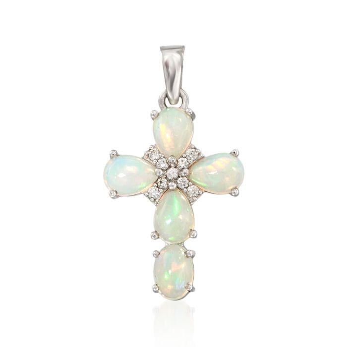 Opal and .20 ct. t.w. White Zircon Cross Pendant in Sterling Silver