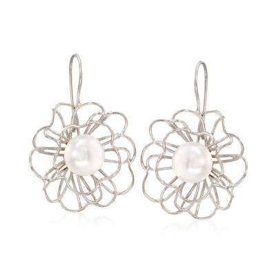 12mm Cultured Pearl Openwork Floral Drop Earrings in Sterling Silver, , default