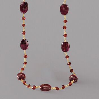 38.00 ct. t.w. Garnet Bead Necklace in 14kt Gold Over Sterling