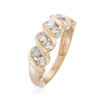 1.00 ct. t.w. Diamond Swirl Ring in 14kt Yellow Gold. Size 10, , default