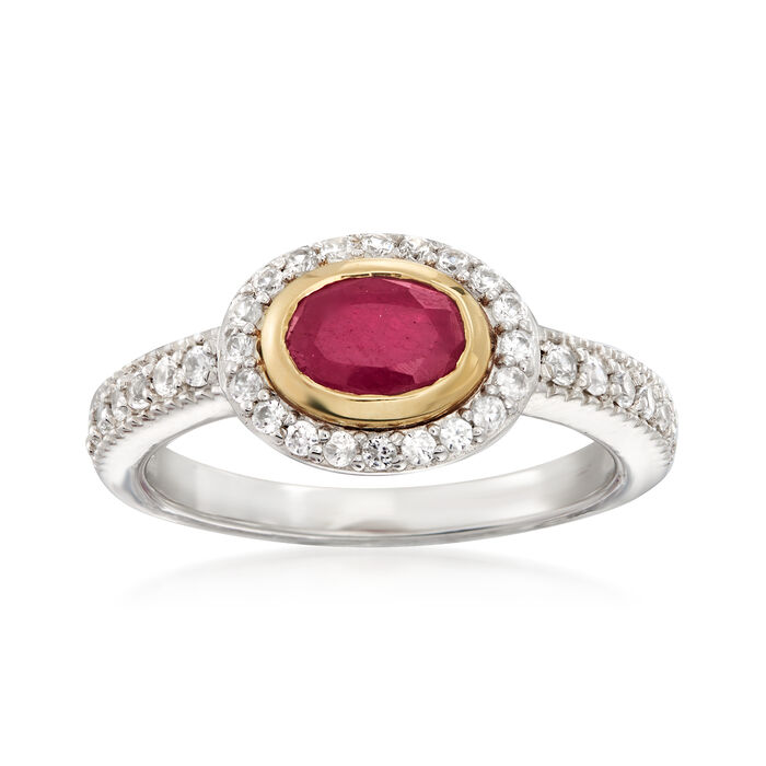 1.00 Carat Ruby and .50 ct. t.w. White Zircon Ring in Sterling Silver with 14kt Yellow Gold