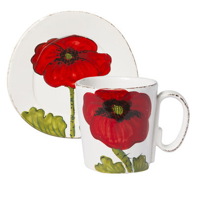 "Vietri ""Lastra"" Poppy Flower Dinnerware from Italy"
