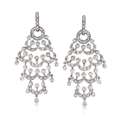 C. 2010 Vintage 1.00 ct. t.w. Diamond Removable Chandelier Earrings in 14kt White Gold