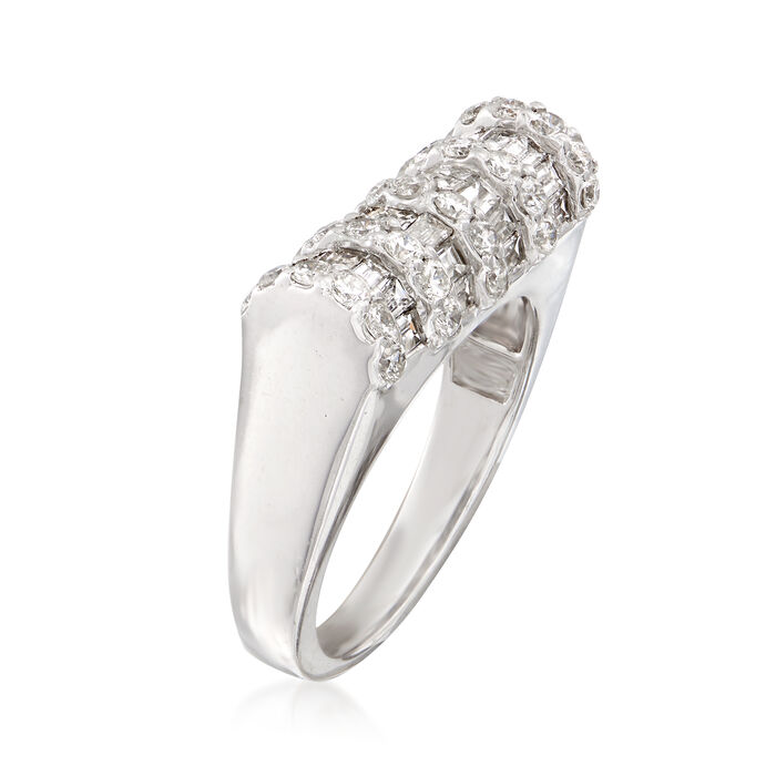 1.74 ct. t.w. Baguette and Round Diamond Ring in 14kt White Gold