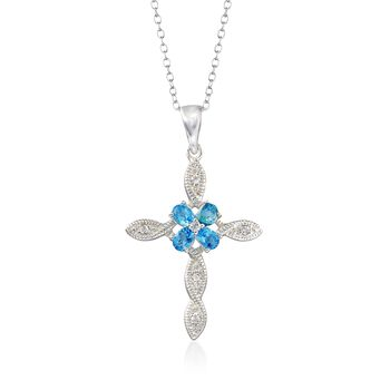 "2.56 ct. t.w. Blue and White Topaz Cross Pendant Necklace in Sterling Silver. 18"", , default"