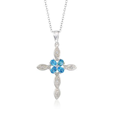 2.56 ct. t.w. Blue and White Topaz Cross Pendant Necklace in Sterling Silver, , default