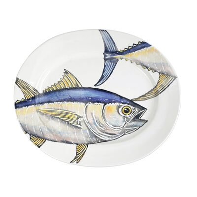 """Vietri """"Pesca"""" Tuna Large Oval Platter from Italy"""