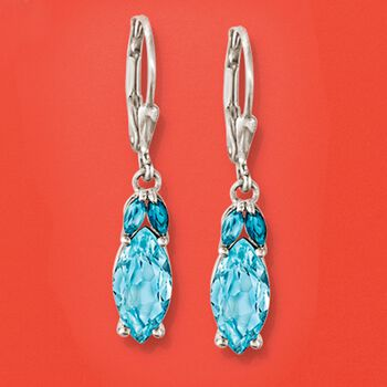 4.00 ct. t.w. Tonal Blue Topaz Drop Earrings in Sterling Silver, , default