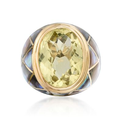 Lime Quartz and Abalone Shell Ring in 14kt Yellow Gold, , default